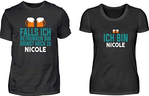 Hochwertiges Partner Shirt - Falls Ich Betrunken Bin Bringt Mich Zu Name Partner Couple - Schlichtes Und Witziges Design