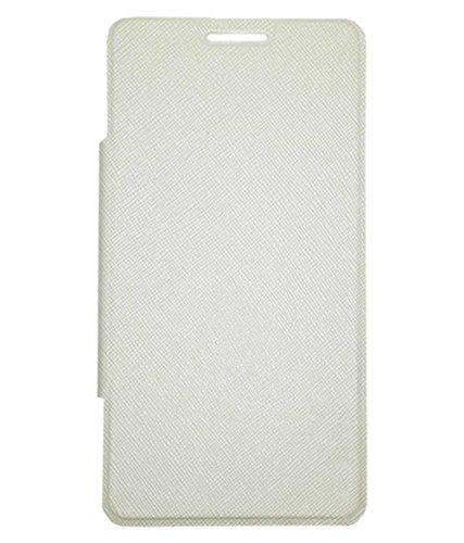 Elint Faux Leather Micromax Canvas 5 E481 Black Flip Cover (White)