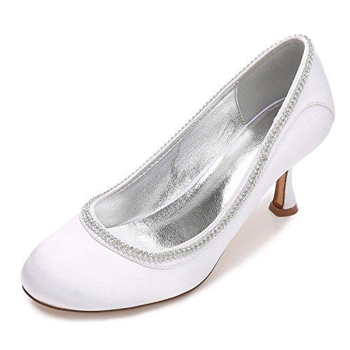 L@YC Tacco alto Da Donna Con Tacco alto P-17061-40 Strass alla Caviglia Con Cinturino In Raso Da Sposa Scarpe Da Sposa Bianco