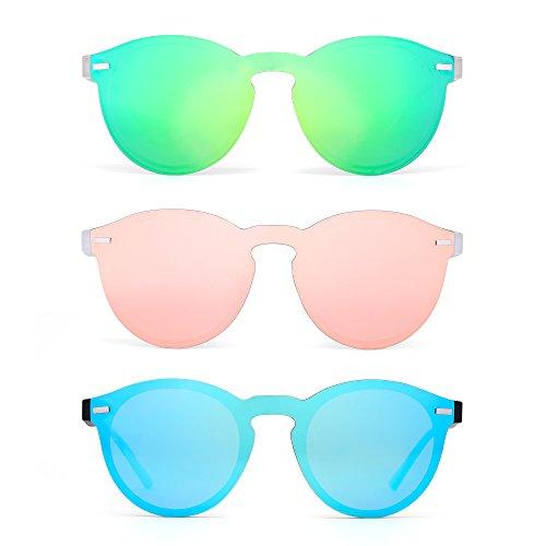 JIM HALO Polarisiert Randlos Sonnenbrille Reflektierend Ein Stück Rund Spiegeln Brillen Zum Damen Herren 3 Stück(Grün&Pink&Blau)