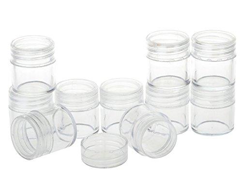 25 pcs/50Pcs 20 gram vide Plastique bocaux Eyshadow Cosmétique conteneurs avec bouchon à visser Couvercle pour voyage Make Up Ombre à paupières poudre à ongles Bijoux Perles Bijoux transparente
