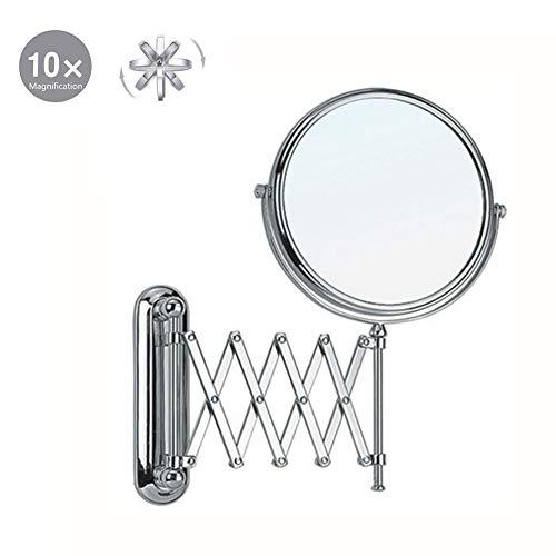 XNDCYX Espejo De Aumento De Pared, Doble Cara Plegable Espejo De Pared Maquillaje Extensible, Espejos...