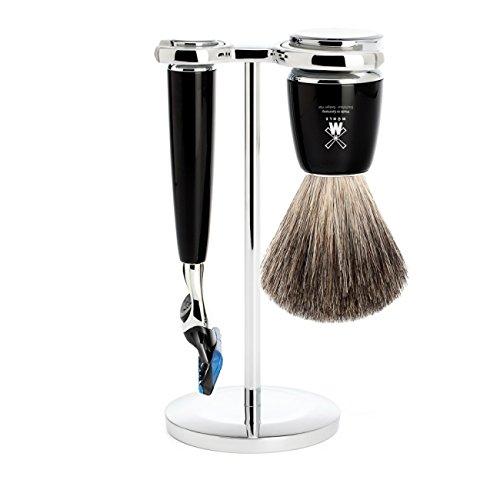 뮐레 클래식 면도기 세트 MÜHLE - 3-Pcs. Shaving Set Pure Badger Hair / Fusion - RYTMO Series - Noble White Resin Handles Black