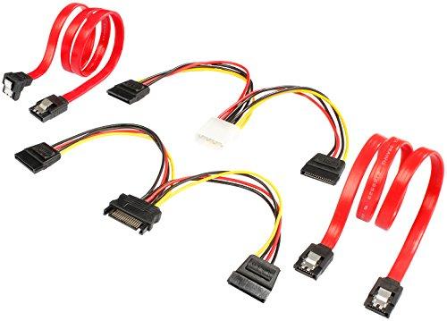 Poppstar 2x Sata 3 Datenkabel (rot, 50cm, Stecker 1x gerade, 1x auf gewinkelt)