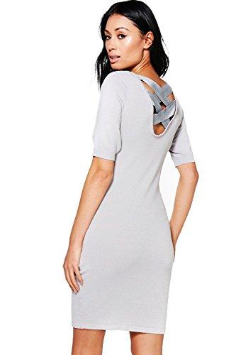 Grau Damen Maria Pulloverkleid Mit Rückenschnürung Grau