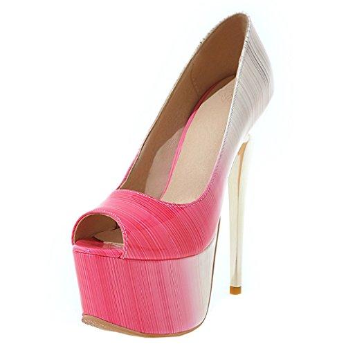 ENMAYER Frauen Lackleder Sexy Plattform Stiletto Super High Heels Runde und Peep Toe Pumps Slip auf Hochzeitskleid Court Schuhe 34 B(M) EU Rosa#12