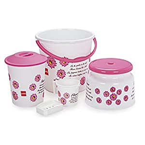 Cello Classic 5 Piece Polypropylene Bathroom Set, Pink