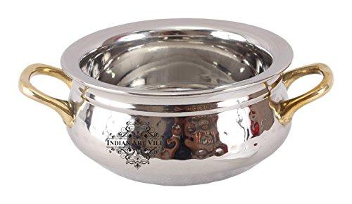 IndianArtVilla Acier Pince de Bol avec poignée Laiton Double Couche  400 ML  pour Servir Plats Hoem Hôtel Restaurant, Acier Inoxydable, Silver, 17.5