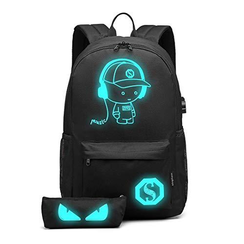 Kono Rucksack USB Laptop Schultasche mit Federmäppchen Schulranzen Backpack für Arbeit Freizeit Reise Unisex (6879Schwarz)