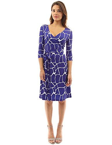 PattyBoutik femmes robe croisée manches 3/4 en col V à motif géométrique bleu et blanc