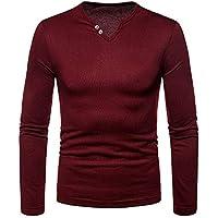 TWBB Herren Bekleidung Freizeit Polo Shirt Slim-Fit Sweatshirt V-Ausschnitt Abdrehen Halsband Langarmshirt Pullover Oberteile Tops