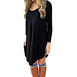 Overdose Women T-Shirt Dress Long Sleeve Casual Loose Mini Dress