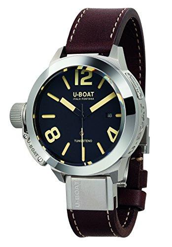 U-Boat Reloj Automático para Hombre con Negro esfera analógica pantalla y correa de piel color marrón 8092