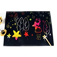 Fliyeong Premium Quality Rainbow Scratch Paper Notepad Sheets Coil-Bound Together of Black Rainbow Scratch Paper for Kids Children Girls Makes Art Fun 10 Pcs