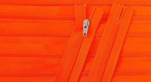 Reißverschluß Kunststoff nicht teilbar 20 cm neon orange silberner Zipper (Neon-orange Kissen)