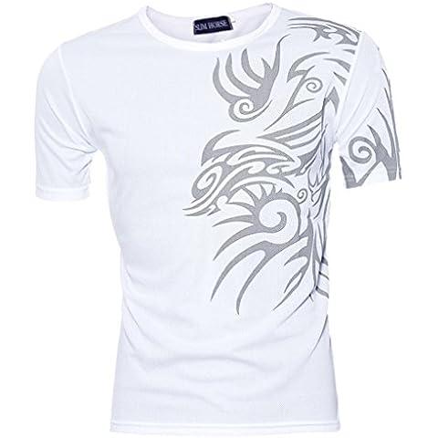 Camicia Uomo ,Ouneed® Manica Corta T-shirt Sport T Design Sottile Che Basa la Camicia (Bianco, XXXL)