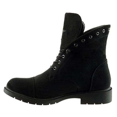 Mode Chaussure boots rangers femme bloc Noir Bottine desert CM 3 Angkorly Talon etoile motard Aq5w6AI