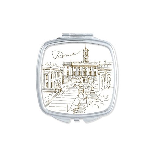 DIYthinker Fontana Di Trevi Rom Fontana Landmark Muster Square Compact Make-up Taschenspiegel Tragbar Süßer Kleiner Hand Spiegel -