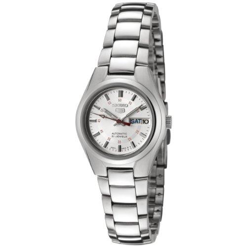 Seiko SYMC21 Seiko 5 Automatik Silber Zifferblatt Edelstahl Uhr - 5 Automatik Damen Uhr Seiko