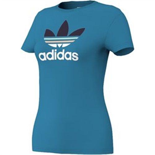 Adidas - Maglietta da donna Trefoil Multi Color Turchese - turchese