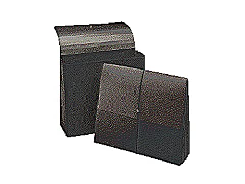 Extra-Wide Five Inch Expansion Wallets, 12 3/8 x 10, Black, 10/Box