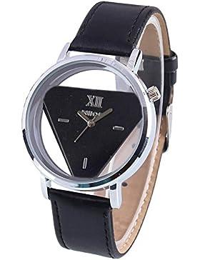 Quarz Armbanduhr - TOOGOO(R)Damen Herren Glas holen Dreieck Kunstleder Analog Quarz Armbanduhr Schwarz Band und...