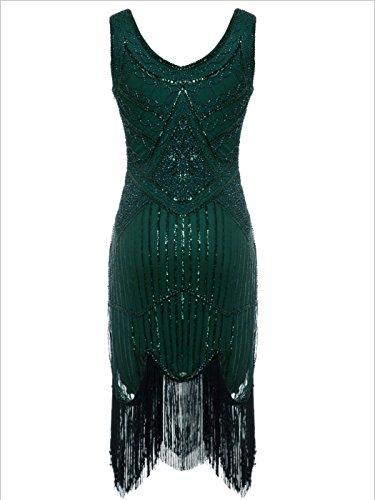 FAIRY COUPLE 1920 Pailletten Perlen Quasten Falten Gatsby Flapper Kleid D20S001 Grün