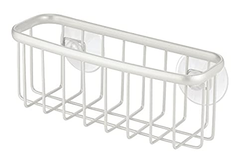 InterDesign Axis Kitchen Sink Suction Holder for Sponges/Scrubbers/Soap, Pearl White