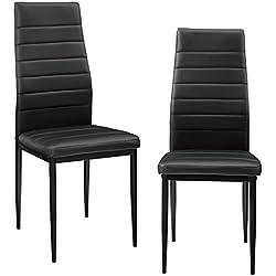 [en.casa] 2 x sillas de comedor (negras) tapizadas de cuero sintético de alta calidad para comedor / salón / cocina - Set