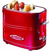 Nostalgia Hot Dogs Tostador Retro 650W Máquina Tostadora de Perritos Calientes, Ranura para pan y Salchichas(hot dog) (Color Rojo)