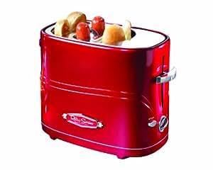 Nostalgia Retro Hot Dog Maker, 650W Hot Dog Toaster mit Zange, Verbreiterter Doppelschlitze, Perfekt für Frühstück und Party, Retro-Serie Hot dog Maschine