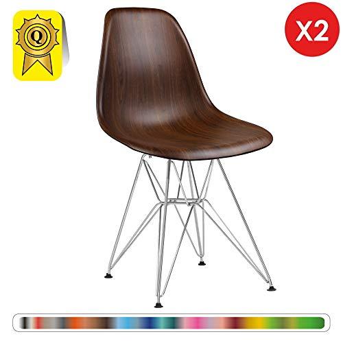 Decopresto 2 x Designer-Stuhl Beine:Chrom Edelstahl Stitz:Holz DP-DSR-WO-2P