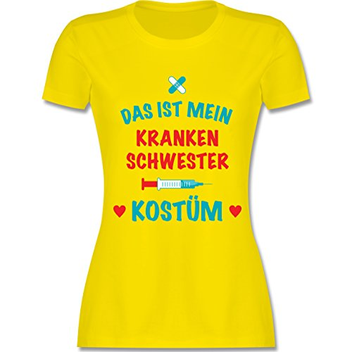 Karneval & Fasching - Das ist Mein Krankenschwester Kostüm - XXL - Lemon Gelb - L191 - Damen T-Shirt Rundhals (Krankenschwester T-shirt Gelben)