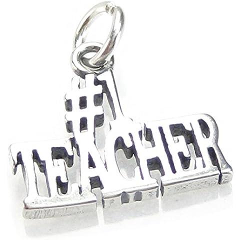Teacher#1-Ciondolo in argento sterling 925 a forma di numero 1 x charm DKC91099 insegnanti - Number One Charm
