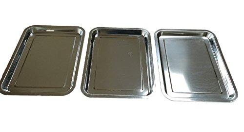 Juego de 3bandejas de acero inoxidable–Tabletas VMG placas–Rectangular de 36x 27cm Pan,...