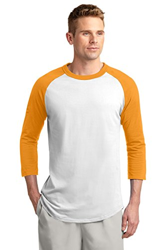 Sport-Tek® Colorblock Raglan Jersey. T200 White/Gold 4XL (Colorblock Raglan-jersey-shirt)