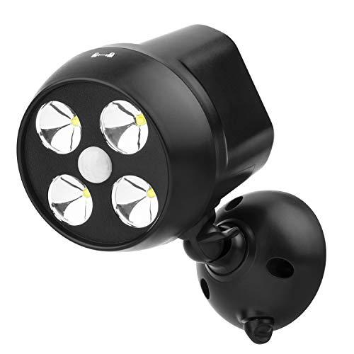 NICREW Außenleuchten Mit Sensor, Drahtlose Sicherheit Bewegungsmelder Licht, 600-lumen 4-LED Wetterfest Batteriebetrieben Wandleuchte Strahler, Sicherheitslicht im Freien Für Outdoor