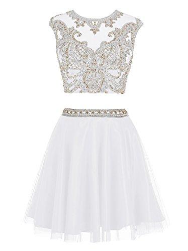 Dressystar Robe femme, Robe de bal courte sans manches en 2 pièces, aus strass à fleur en Tulle Blanc