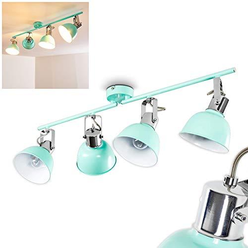 Grüne Deckenlampe 4-flammig im Vintage-Design – Deckenspot Dompierre aus Metall - Zimmerlampe mit dreh- und schwenkbaren Leuchtköpfen im runden Design – 4 x E14-Fassungen – länglicher Metallsockel
