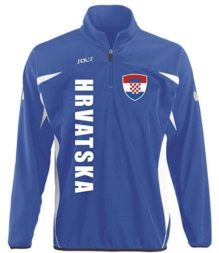 aprom Kroatien Kinder Sportpullover - Sport Fussball Trikot Look (140)