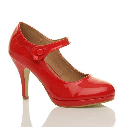 Femmes talon haut Mary Jane soir travail escarpins babies chaussures pointure Verni rouge