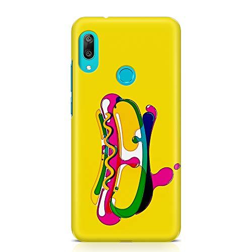 ItalianCaseDesign Cover Custodia Protettiva Case Hot Dog Cibo Panino Disegno Pennello Acqua Stile Compatibile con Huawei Y5 2019 - Y6 2019 - Y7 2019 (Seleziona Modello)
