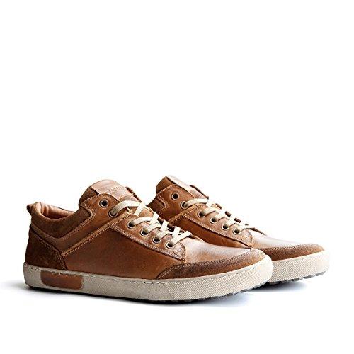 Travelin' Aberdeen Herren Leder Stiefel Niedrig | Schnürhalbschuh, Freizeitschuhe, Business Schuhe | Cognac 44 EU (Hohe Ferse Lederstiefel)