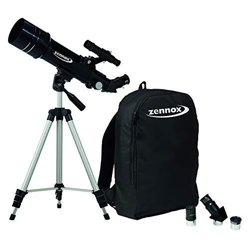 Zennox 70x 400Refraktor Tragbare Reise-Teleskop 400m Brennweite 2x 24Sucherfernrohr mit Tragetasche und Stativ.