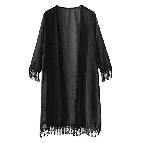 Vovotrade ✿✿Frauen Pure Fringe Kurzarm Tassel Chiffon Top Shawl Kimono (Free Size, Schwarz) (Kurzarm-kimono)