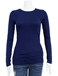 Navy Blue Ladies Crew Neck Long Sleeve T-Shirt