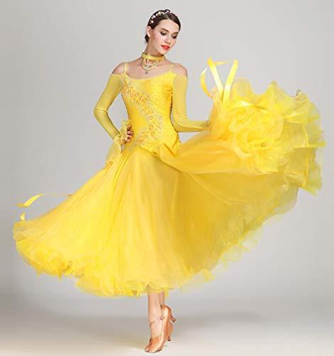 Z&X Women Es Modern Ballroom Dance Kostüm Sling Professional Set Spandex Lycra/Hohe Dichte Garn Gelb,XXL (Lycra Dance Kostüm)