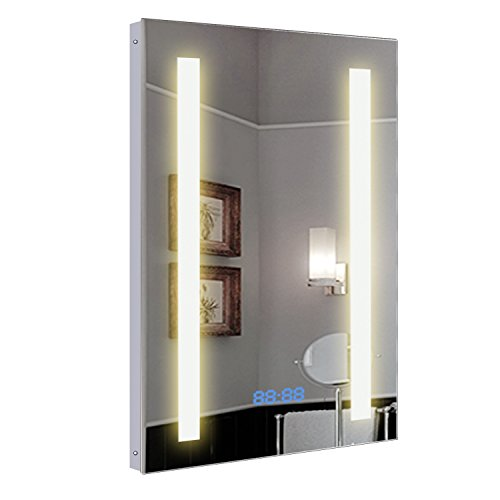 Hapilife Illuminated Bathroom Mirror with Demister Pad Clock Pull Cord 500mm x 390mm