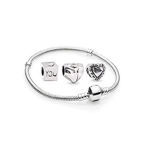 Damen Herz Charms Beads 1 Armband und 3 Anhänger Starter Set Angebot Zirkonia Murano Glas bettel Pandora Style Bead kompatibel 17cm - Ring, Halskette, Geburtsstein Charms