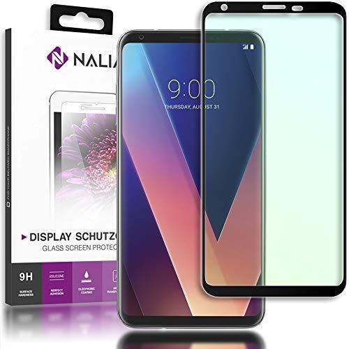 NALIA Schutzglas kompatibel mit LG V30, 3D Full-Cover Displayschutz Handy-Folie, 9H Härte Glas-Schutzfolie Bildschirm-Abdeckung, Schutz-Film HD Screen Protector Tempered Glass - Transparent (schwarz)